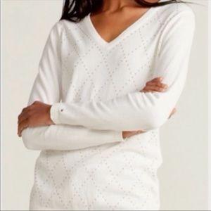 Tommy Hilfiger Studded Argyle Cotton Sweater XS